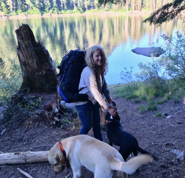 Nicola & dogs at Slide Lake